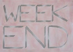 """Weekend"", Hand Painted Watercolor, Drawing, Inspirational Saying, 50x70cm"