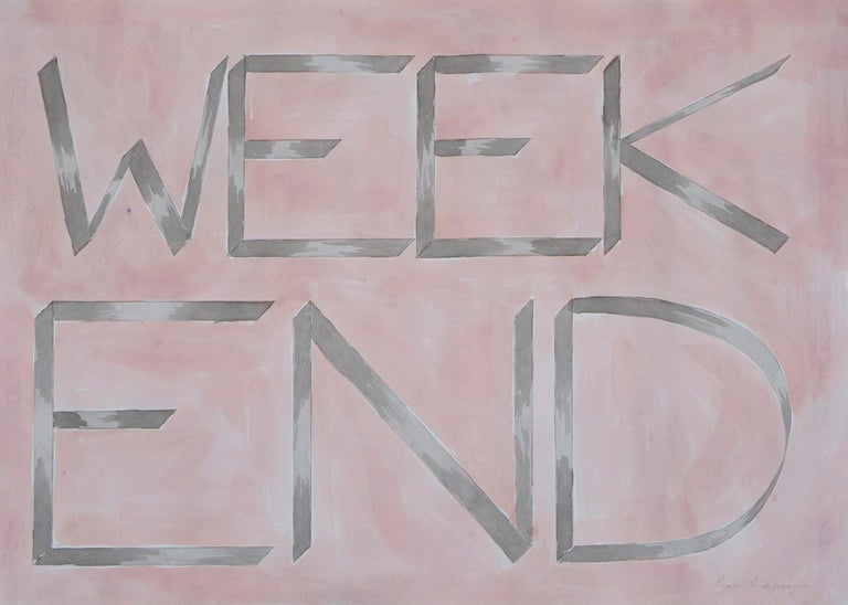 """Ryan Rivadeneyra Still-Life Painting - """"Weekend"""", Hand Painted Watercolor, Drawing, Inspirational Saying, 50x70cm"""