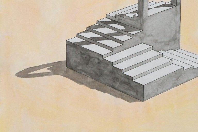 Arch with Stairs, Hand Painted Watercolor, Minimalist Art, Sol Lewitt Style For Sale 4