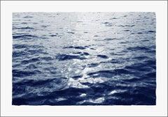 """Bright Sunrise Bay"", Handmade Cyanotype on Paper, 100x70cm, Classic Blue Navy"