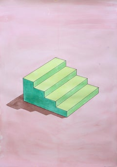 """Sol Lewitt Stairs in Green"", 70x50cm Watercolor on Paper, Lime Architecture"