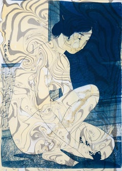 Hashiguchi Goyo Inspired Japanese Cyanotype with Marbling on Watercolor Paper