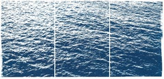 Bright Seascape in Capri, Navy Cyanotype Triptych 100x210 cm, Edition of 20
