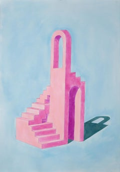 """""""Pink Building on Blue"""", Watercolor on Paper, 100x70cm, Ryan Rivadeneyra, Pastel"""