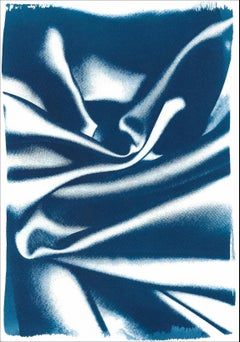 Abstract Wavy Silk Pattern in Classic Blue, Cyanotype Print, Subtle Gesture