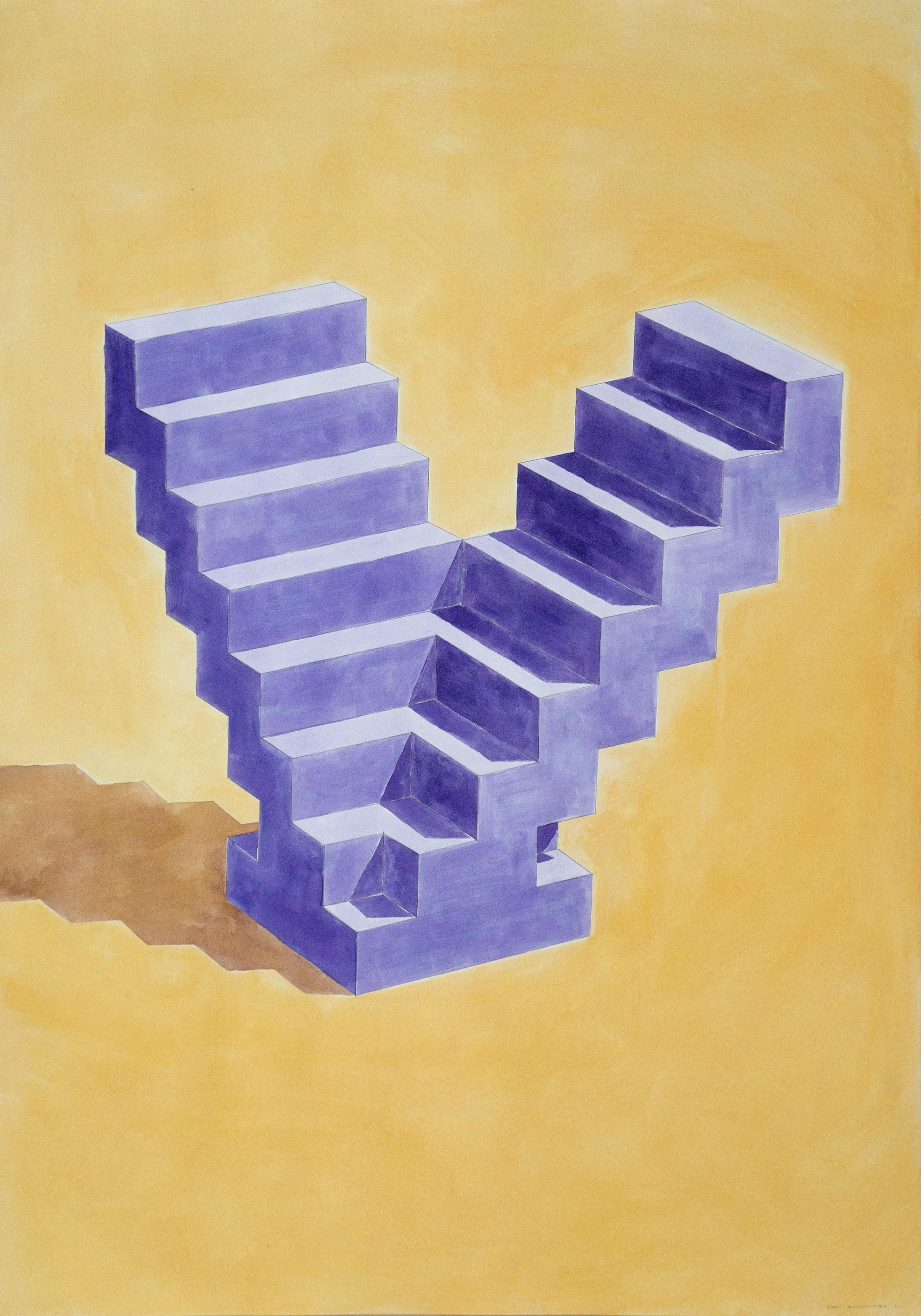 Double Staircase, Architectural Watercolor on Paper,  Purple & Yellow Sculpture