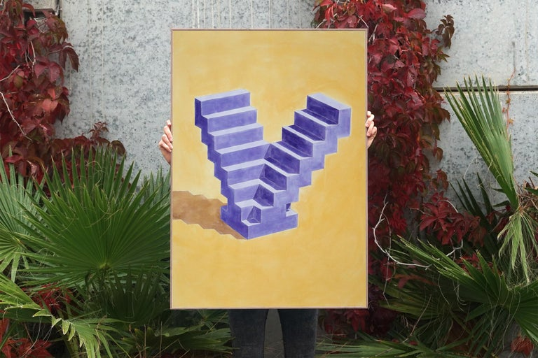 Double Staircase, Architectural Watercolor on Paper, 100x70cm, Purple, Yellow - Painting by Ryan Rivadeneyra