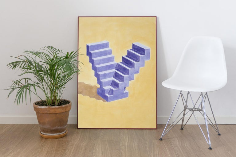 Double Staircase, Architectural Watercolor on Paper, 100x70cm, Purple, Yellow - Abstract Geometric Painting by Ryan Rivadeneyra