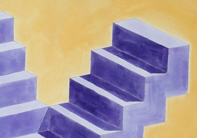 Double Staircase, Architectural Watercolor on Paper, 100x70cm, Purple, Yellow For Sale 2