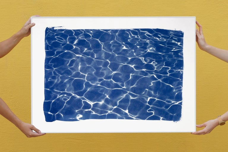 Hollywood Pool House Glow, Cyanotype on Watercolor Paper, 100x70cm, Deep Blue - Contemporary Art by Kind of Cyan