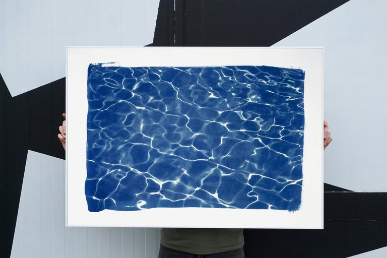 Hollywood Pool House Glow, Cyanotype on Watercolor Paper, 100x70cm, Deep Blue For Sale 1