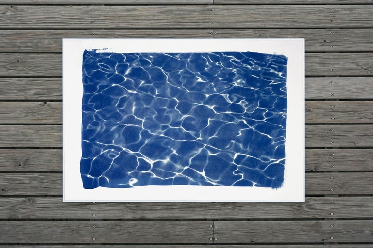 Hollywood Pool House Glow, Cyanotype on Watercolor Paper, 100x70cm, Deep Blue For Sale 2
