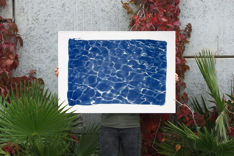 Hollywood Pool House Glow, Cyanotype on Watercolor Paper, 100x70cm, Deep Blue For Sale 3