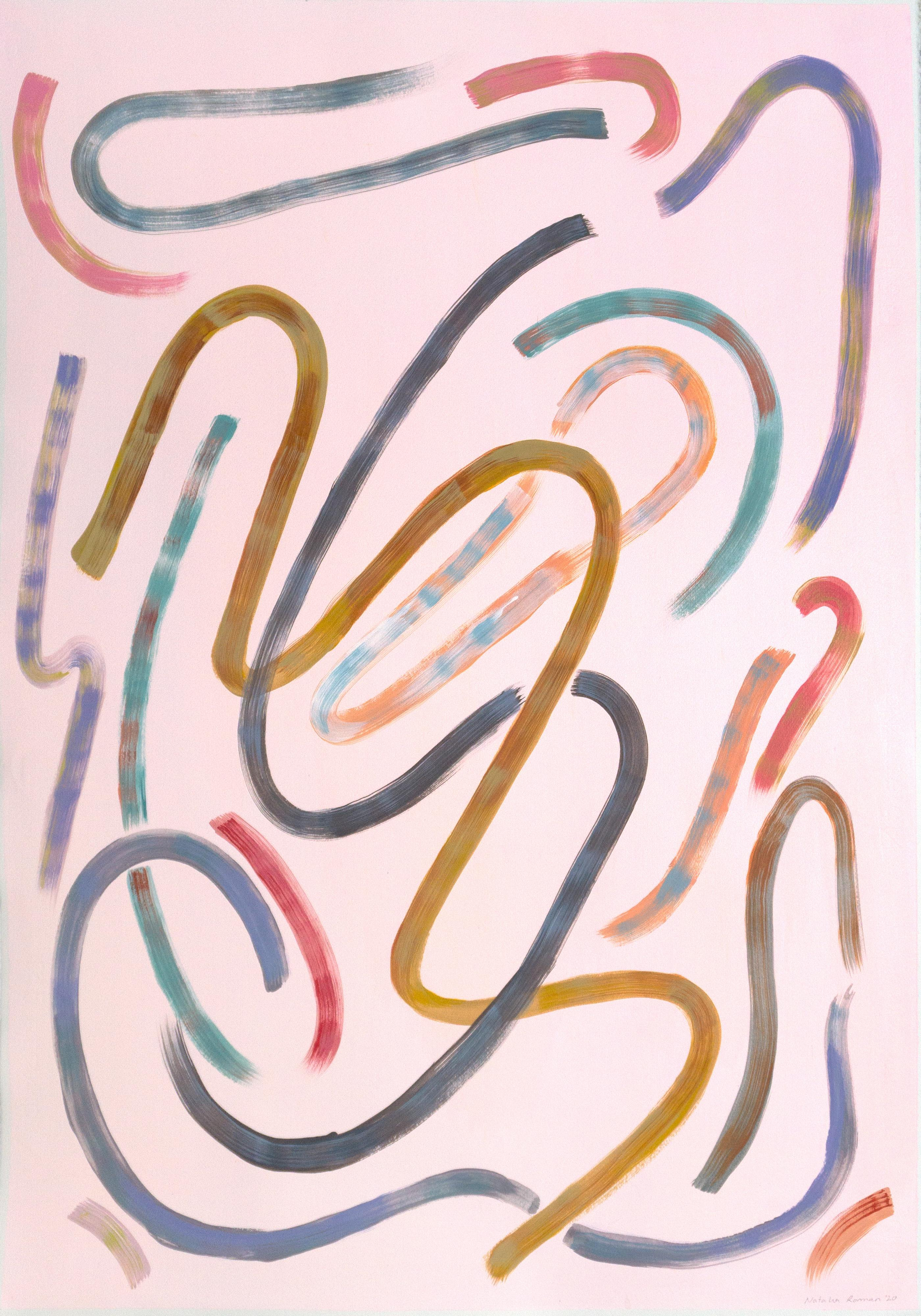 Lively Movements on Pastel Pink, Acrylic on Paper, 100x70 cm, Abstract, Classy