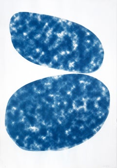 Cloudy Ovals, Cyanotype on Paper 100x70cm, Classic Blue, Abstract Geometric 2020