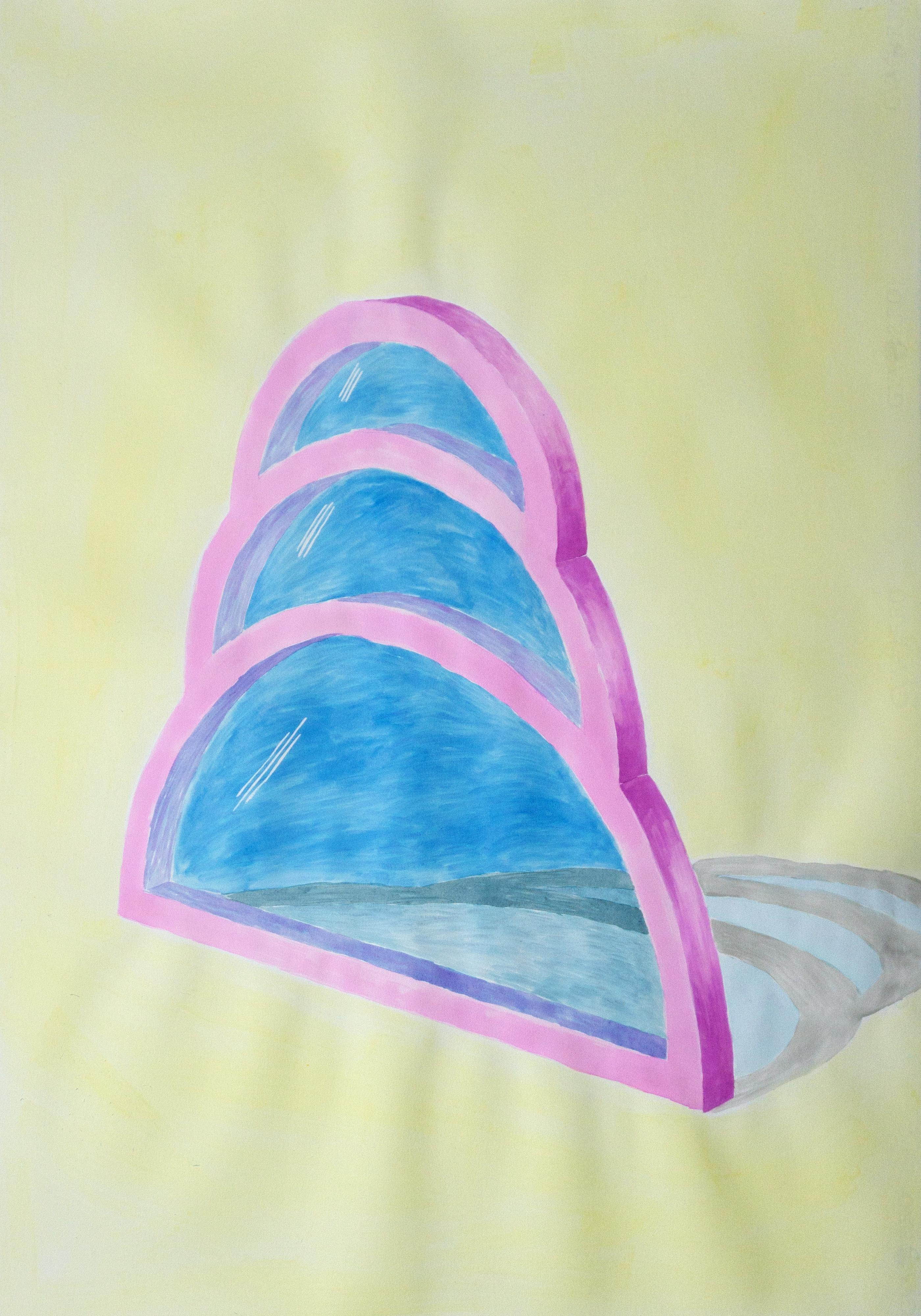 Transparent Teardrop Window, Watercolor on Paper, Yellow, Blue, Pink, Minimal
