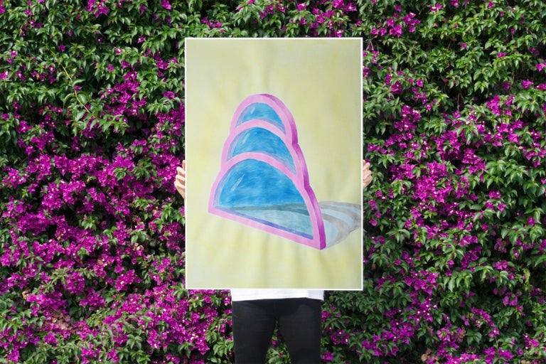 Transparent Teardrop Window, Watercolor on Paper, Yellow, Blue, Pink, Minimal - Beige Interior Art by Ryan Rivadeneyra