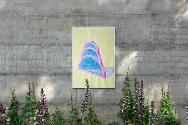 Transparent Teardrop Window, Watercolor on Paper, Yellow, Blue, Pink, Minimal For Sale 2