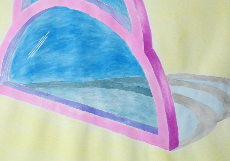 Transparent Teardrop Window, Watercolor on Paper, Yellow, Blue, Pink, Minimal For Sale 1