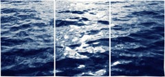 Triptych of : Summer Waters in Cannes, Contemporary Cyanotype in Classic Blue