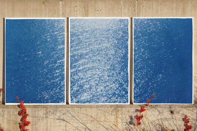Splendorous Amalfi Coast Seascape , Colossal Cyanotype Triptych on Paper, 2020 - Photograph by Kind of Cyan