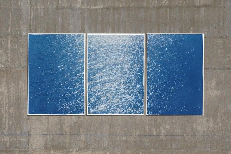 Splendorous Amalfi Coast Seascape , Colossal Cyanotype Triptych on Paper, 2020 - Minimalist Photograph by Kind of Cyan