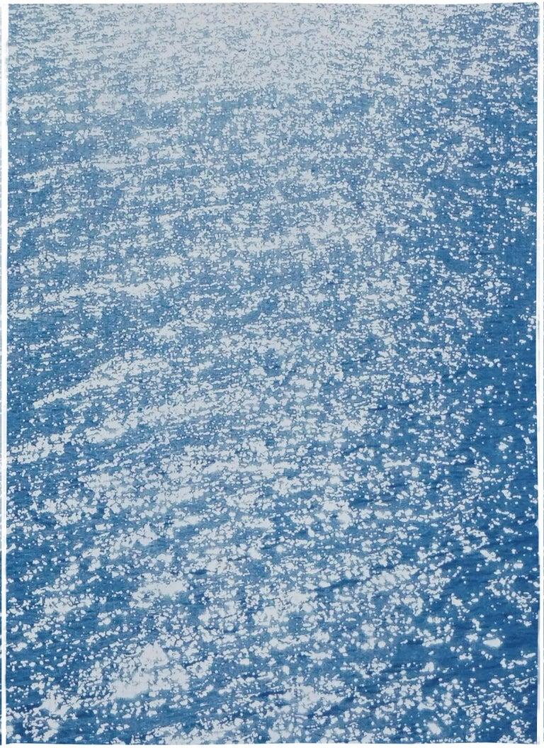 Splendorous Amalfi Coast Seascape , Colossal Cyanotype Triptych on Paper, 2020 For Sale 1