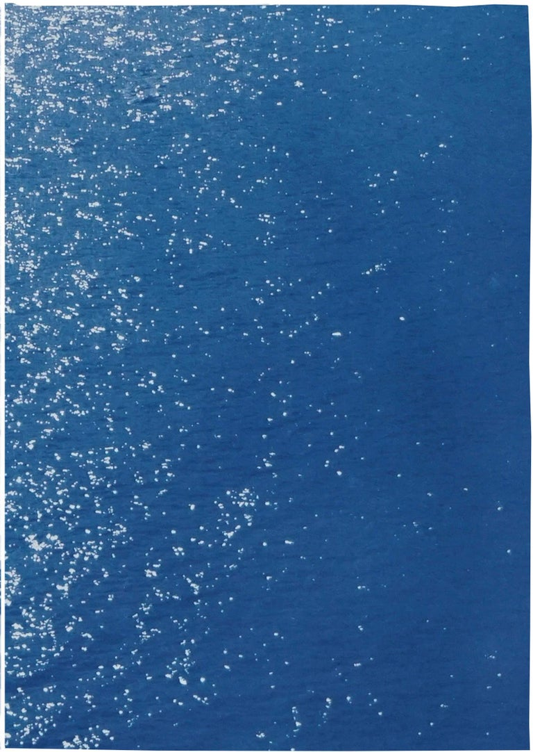 Splendorous Amalfi Coast Seascape , Colossal Cyanotype Triptych on Paper, 2020 For Sale 2