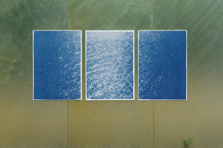 Splendorous Amalfi Coast Seascape , Colossal Cyanotype Triptych on Paper, 2020 For Sale 4