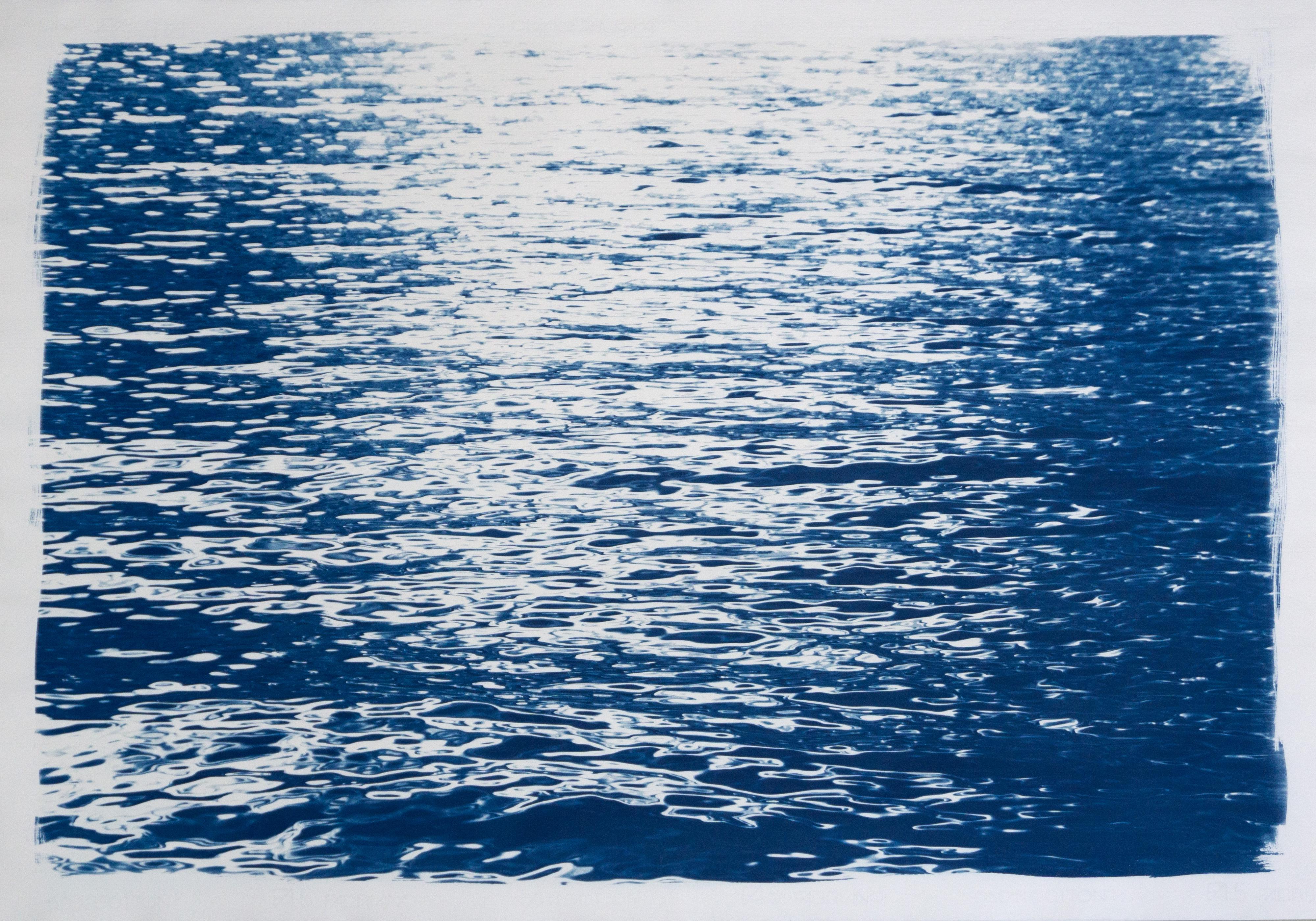 Abstract Ripples Under Moonlight, Contemporary Cyanotype of Water Reflections