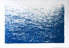 Calming Sea Ripples in Blue, Hand Painted Nautical Blueprint, Mediterranean Sea