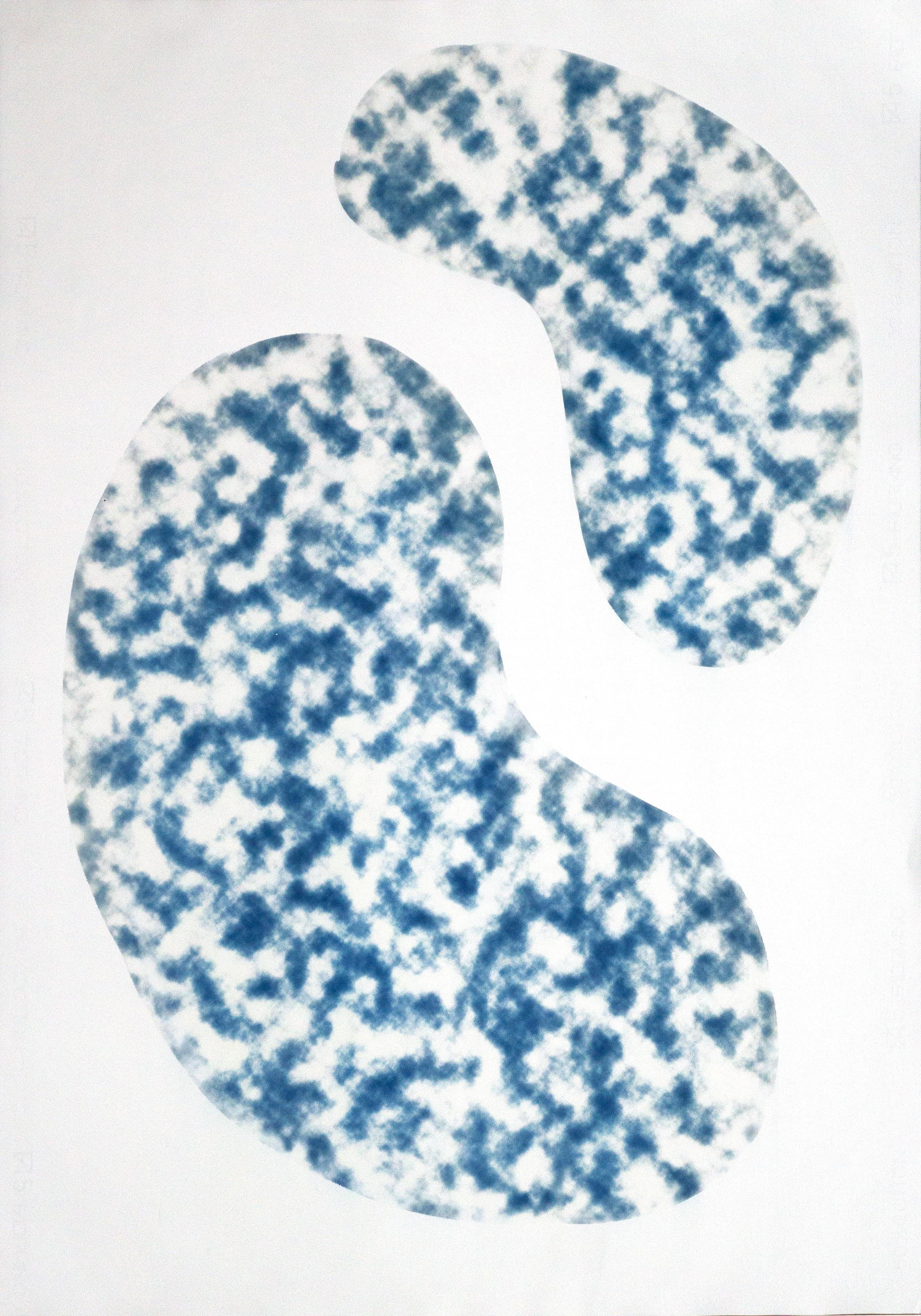 Kidney Bean Pools, Minimal Cyanotype Inspired by Architectural Pools, Cloudy