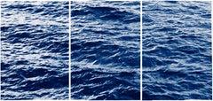 Cyanotype Triptych of Endless Ocean Waves in Montauk, Large Seascape, 2020