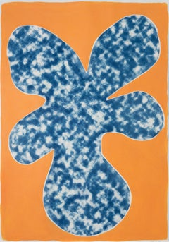 Orange Tropical Tree Cutout, Acrylic Painting on a Background Cyanotype, Botanic