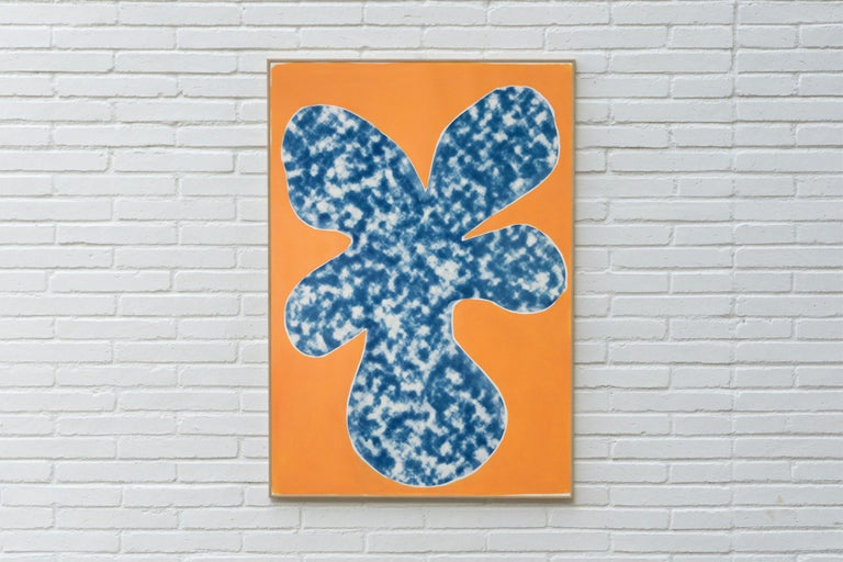 Orange Tropical Tree Cutout, Acrylic Painting on a Background Cyanotype, Botanic - Print by Kind of Cyan