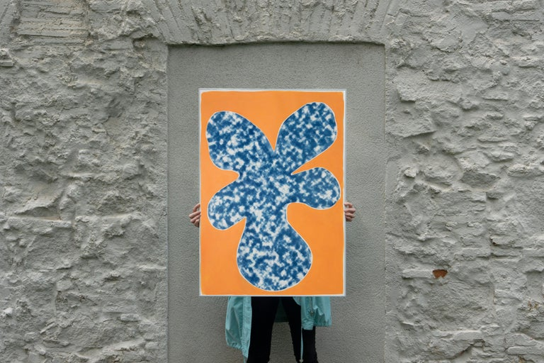 Orange Tropical Tree Cutout, Acrylic Painting on a Background Cyanotype, Botanic - Modern Print by Kind of Cyan