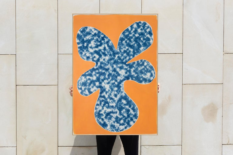 Orange Tropical Tree Cutout, Acrylic Painting on a Background Cyanotype, Botanic For Sale 2