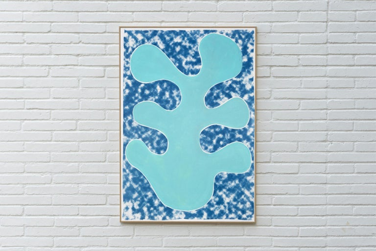 This is a unique mixed media piece: it is a hand-painted botanical abstract colorful shape upon a background that is a cyanotype print of a cloudy texture, giving it a modern, abstract geometric feel that will look great in contemporary and classic