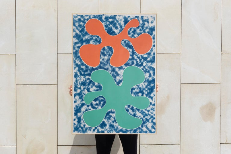 Orange and Green Tropical Splashes, Mixed Media Painting on Paper, Contemporary - Blue Figurative Painting by Kind of Cyan