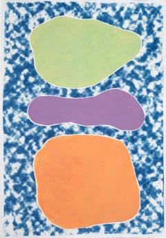 Three Pastel Ovals on Blue, Cyanotype and Acrylic Painting on Paper, Geometric
