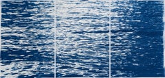 Moonlight Ripples over Lake Como, Nautical Cyanotype Triptych of Moving Water
