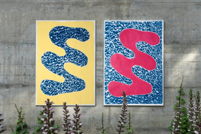 This is a unique mixed media piece: it is a diptych of hand-painted colorful shapes combined with cyanotype prints of pool water texture, giving it a modern, abstract geometric feel that will look great in contemporary and classic homes and