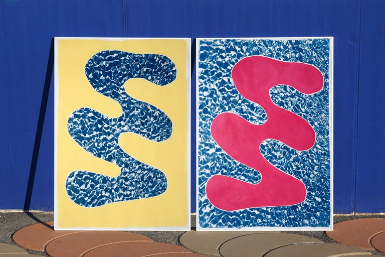 Pool Water Brushstroke Diptych, Cyanotype Print and Acrylic Painting on Paper For Sale 9