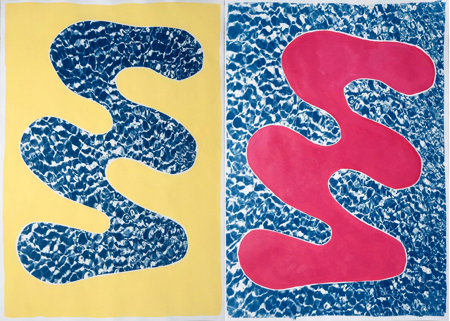 Pool Water Brushstroke Diptych, Cyanotype Print and Acrylic Painting on Paper
