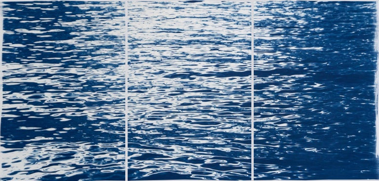 Kind of Cyan Abstract Print - Moonlight Ripples over Lake Como, Nautical Cyanotype Triptych of Moving Water