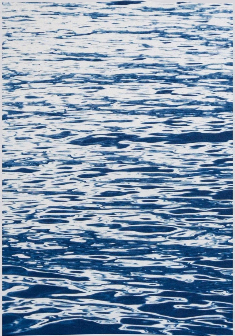 Moonlight Ripples over Lake Como, Nautical Cyanotype Triptych of Moving Water For Sale 1