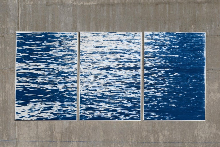 Moonlight Ripples over Lake Como, Nautical Cyanotype Triptych of Moving Water For Sale 6