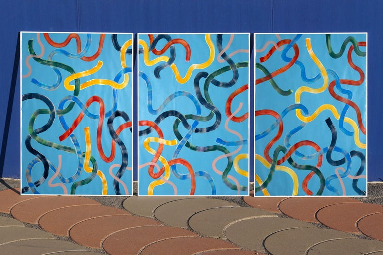Vivid Primary Colors on Turquoise, CMYK Abstract Painting, Gestures Triptych  For Sale 5