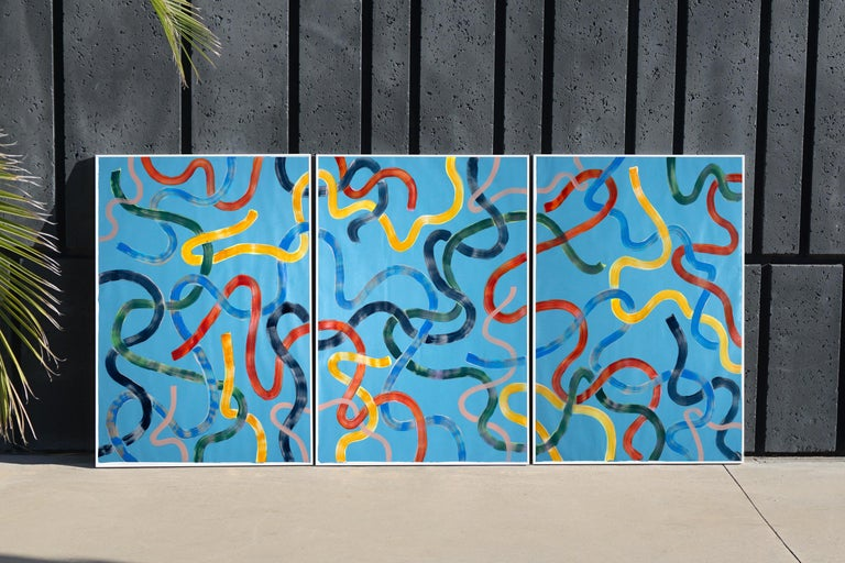 Vivid Primary Colors on Turquoise, CMYK Abstract Painting, Gestures Triptych  For Sale 10