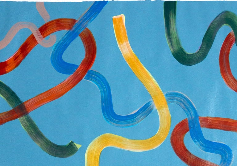 Vivid Primary Colors on Turquoise, CMYK Abstract Painting, Gestures Triptych  For Sale 9